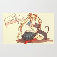 sailor moon Area & Throw Rugs featuring Sailor Moon! by SweetOwls