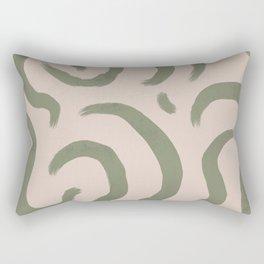 Abstract minimal green pattern, groovy, retro, chic, vintage  Rectangular Pillow