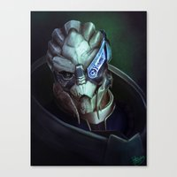 mass effect Canvas Prints featuring Mass Effect: Garrus Vakarian by Ruthie Hammerschlag