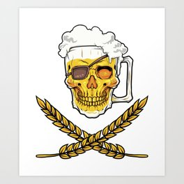 Beer Mug Pirate Skull - Brewery Emblem - Alcohol Art Print