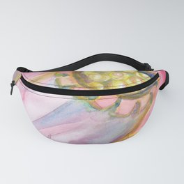 Red Campion Seed Pod -  Abstract Watercolor Painting Fanny Pack