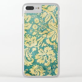 Vintage Antique Green and Gold Pattern Wallpaper Clear iPhone Case