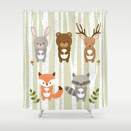 Cute Woodland Forest Animals Shower Curtain