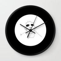 lou reed Wall Clocks featuring Lou Reed B & W by Les Gutiérrez