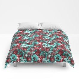 Retro Flowers - Euphoric Vibes Flowery Pattern Comforters
