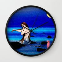 pisces Wall Clocks featuring Pisces by Danielle Tanimura