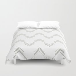 Simply Deconstructed Chevron Retro Gray on White Duvet Cover