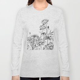 black and white peonies Long Sleeve T-shirt