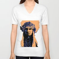native american V-neck T-shirts featuring Native American Head Dress  by T.E.Perry