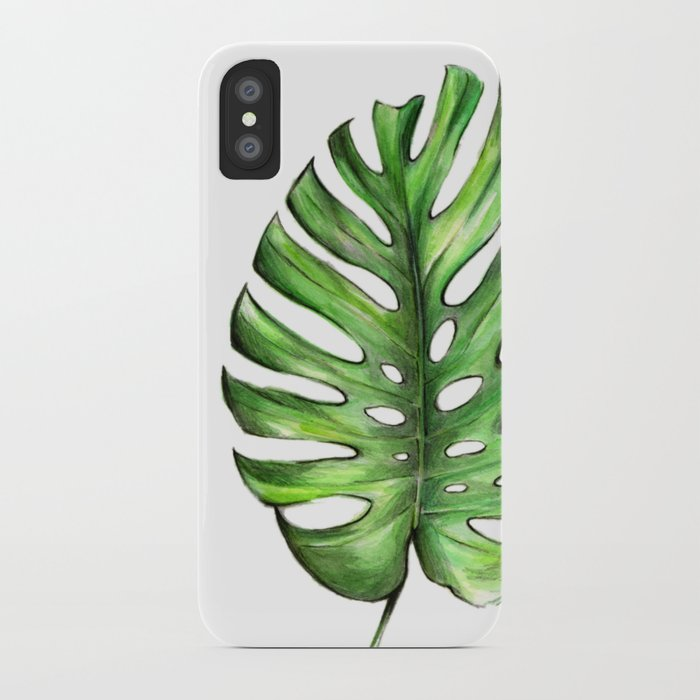 Monstera green leaves iPhone Case