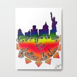"One Direction Lyrics ""Escape from the city & Follow the sun"" Metal Print"
