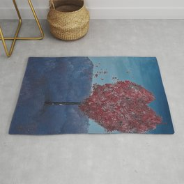Lavender fields, Love Tree, oil painting by Luna Smith, LuArt Gallery Rug