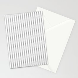 Mattress Ticking Narrow Striped Pattern in Charcoal Grey and White Stationery Cards