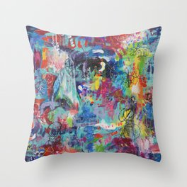 Lady in the  garden abstract painting Throw Pillow