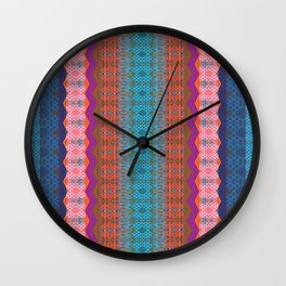 Glowing Coral, Magenta and Turquoise Zag Honeycomb Modern Stripes Wall Clock
