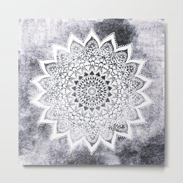 BOHO WHITE NIGHTS MANDALA Metal Print