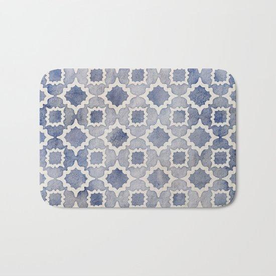 Worn & Faded Navy Denim Moroccan Pattern in grey blue & white Bath Mat