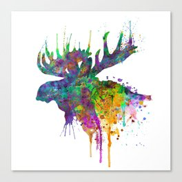 Moose Head Watercolor Silhouette Canvas Print