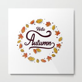 Autumn calligraphy banner. Autumn background layout decorate with leaves Metal Print