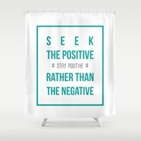 positive Shower Curtains featuring #positive by Cool_Design