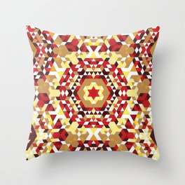 Red Radial Triangles Pattern Throw Pillow