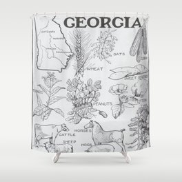 Vintage Agricultural Map of Georgia (1915) Shower Curtain