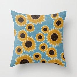 Big Yellow Sunflowers Blue Honeycomb Tile Throw Pillow