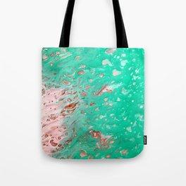 Aqua Fluid Abstract Art Print Tote Bag