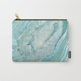 """Aquamarine Pastel and Teal Agate Crystal"" Carry-All Pouch"