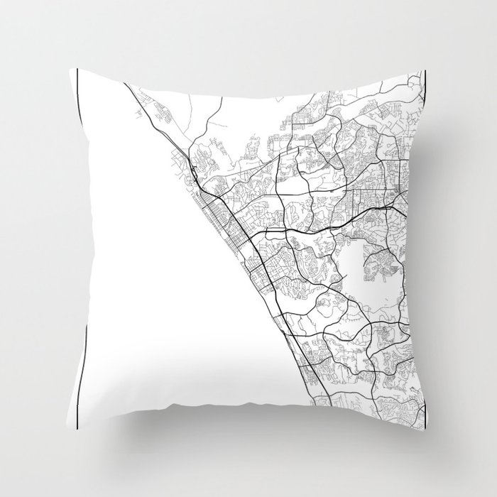 Minimal City Maps - Map Of Oceanside, California, United States Throw  Pillow by valsymot