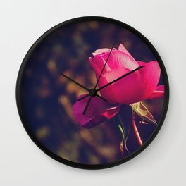 Pink-purple rose, a classic symbol of beauty - Fine Arts Nature Photography Wall Clock