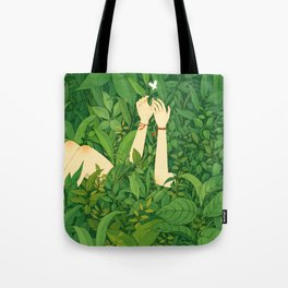 Girl under Leafs Tote Bag
