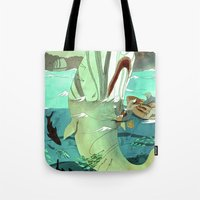 moby dick Tote Bags featuring Moby Dick by Mary Slumber