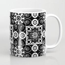 Retro .Vintage . Black and white openwork ornament . Coffee Mug