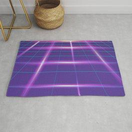 Minimalist Grid Lines Neon Synthwave Rug