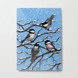 Chickadees in winter Metal Print