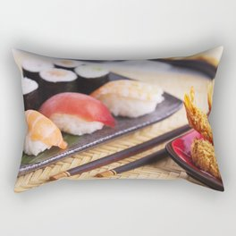 Shrimp tempura and various Japanese sushi on a plate Rectangular Pillow