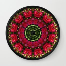 Happy Valentine's Day, Flower Mandala, Red blossoms with hearts Wall Clock