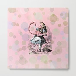 Alice plays Croquet Metal Print