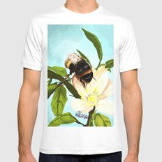 Bee on flower 4 MEDIUM White Mens Fitted Tee