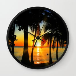 Sunset on Exotic Beach Wall Clock