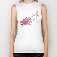 swallow Biker Tanks featuring Pink Swallow by Jelly Roger