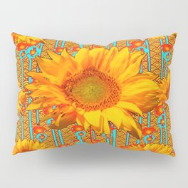 Coffee Brown Sunflower Pattern Orange & Turquoise Pillow Sham
