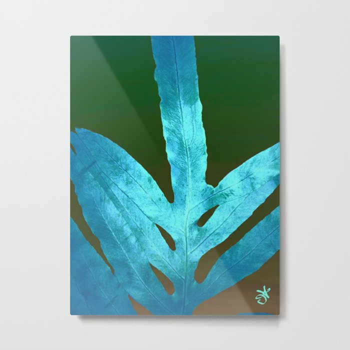 Autumn Leaves Blue and Cold Fall to the Ground Metal Print