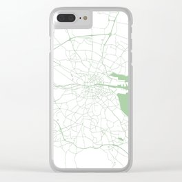 White on Green Dublin Street Map Clear iPhone Case