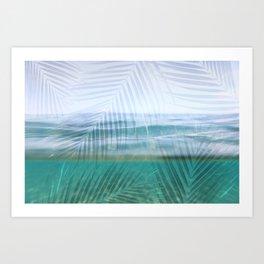 Palms over water  Art Print