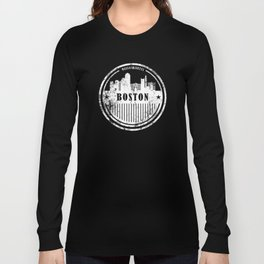 Boston Graphic Grunge Skyline Design Long Sleeve T-shirt
