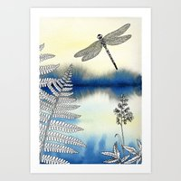 dragonfly Art Prints featuring Dragonfly by Alibabaform