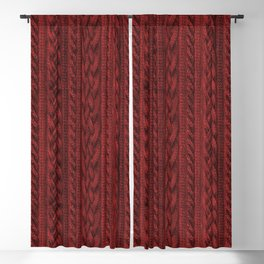 Cardinal Red Cable Knit Blackout Curtain