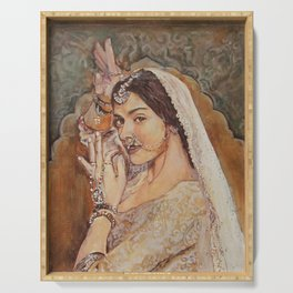 Painting Bollywood portrait Serving Tray